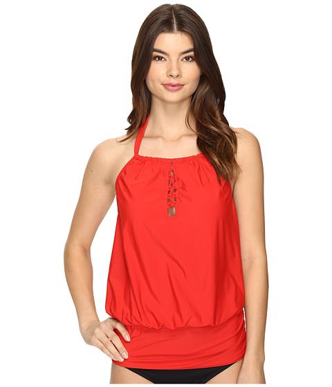 Athena - Cabana Solids Cailyn High Neck Tankini Top (Persimmon) Women's Swimwear