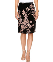 Ivanka Trump - Floral Burnout Velvet Knee Length Skirt