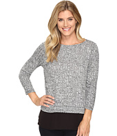 Ivanka Trump - Marled Knit Top with Georgette Hem