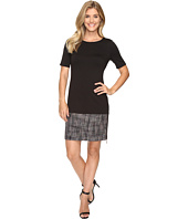 Ivanka Trump - Short Sleeve Ponte Dress with Tweed Hem