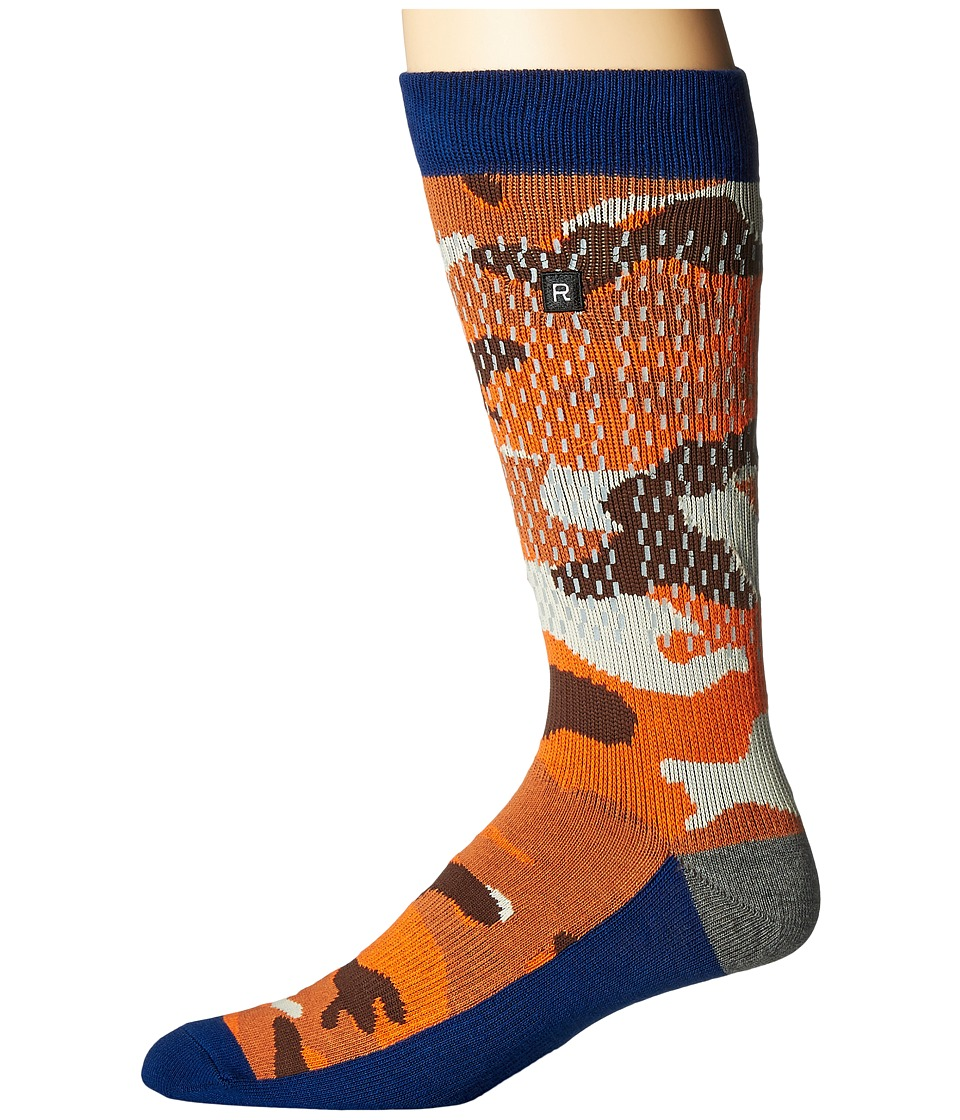Richer Poorer - Raining Camo Performance Reflective (Orange) Mens Crew Cut Socks Shoes
