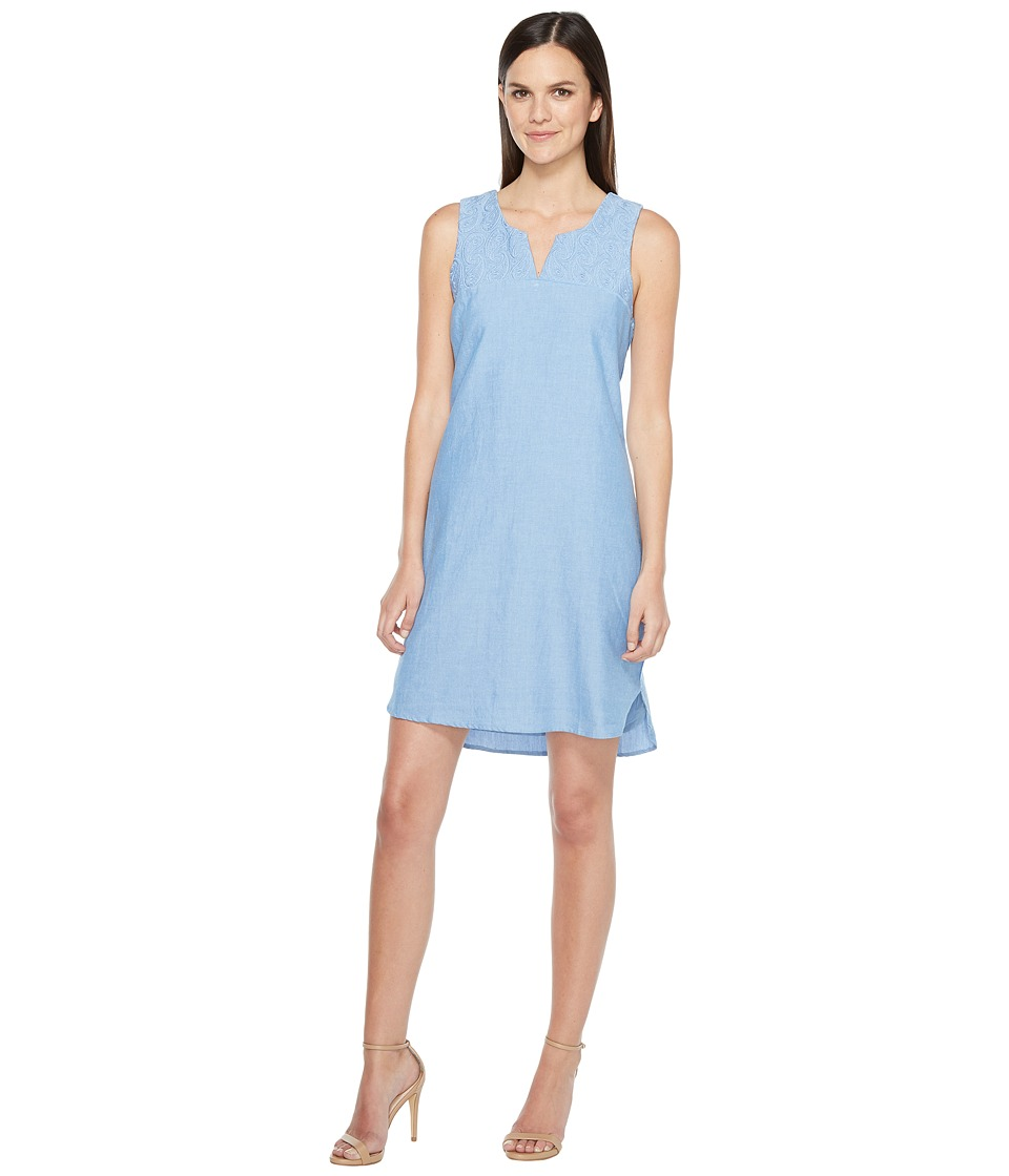 Hatley - Embroidered Notch Neck Dress (Paisley/Chambray) Womens Dress