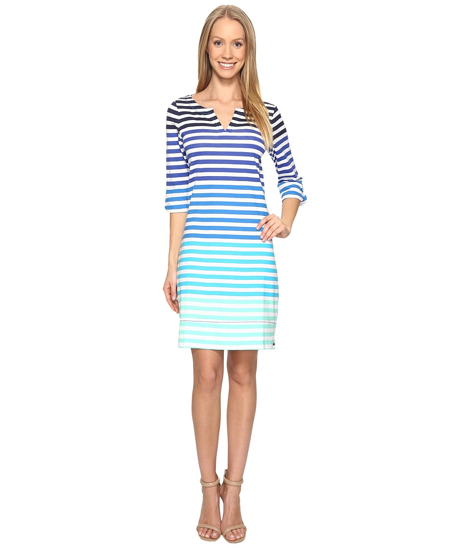 Hatley Peplum Sleeve Dress (Clearwater Stripes) Women