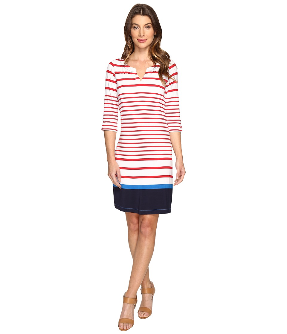 Hatley Peplum Sleeve Dress (Red Sail Stripe/Navy Color Block) Women