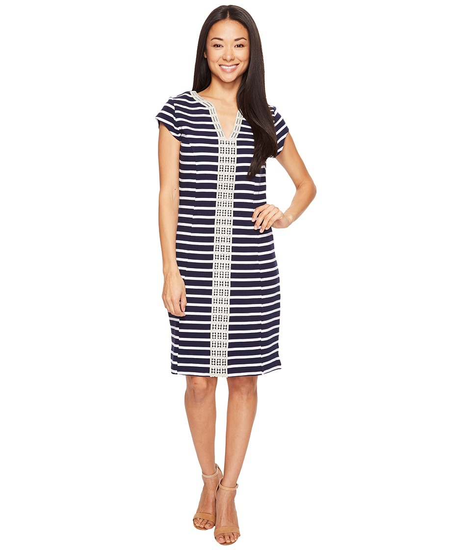 Hatley Ponte Dress (Navy/White Stripe) Women