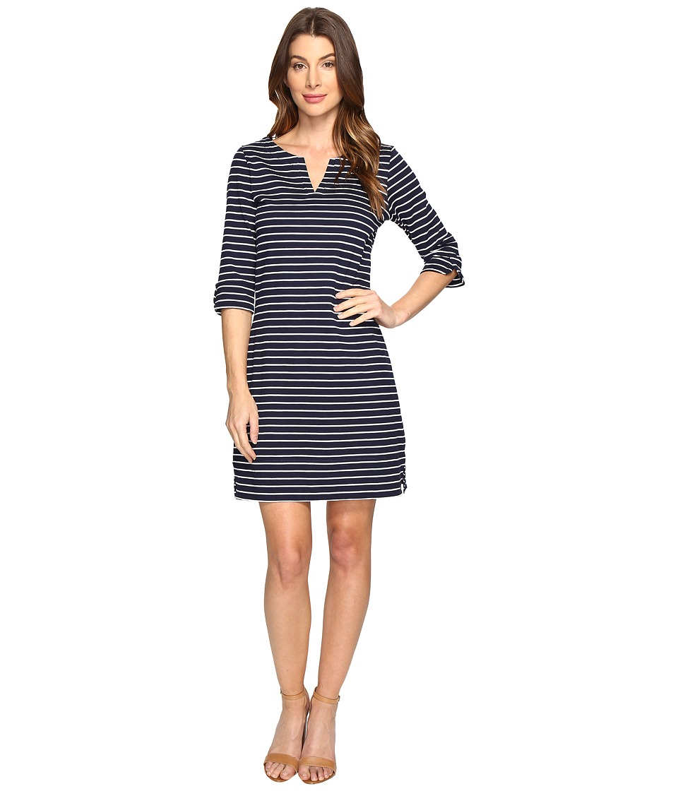 Hatley - Peplum Sleeve Dress (Navy/White) Womens Dress