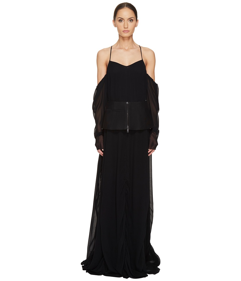 Vera Wang Off the Shoulder Draped Gown with Peplum (Black) Women