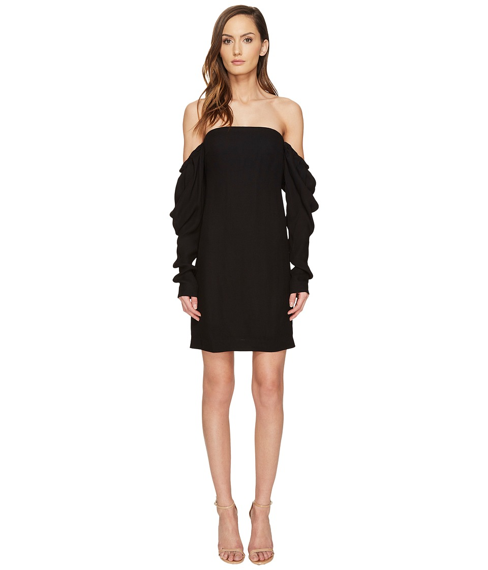Vera Wang Off the Shoulder Shift Dress with Draped Sleeve (Black) Women