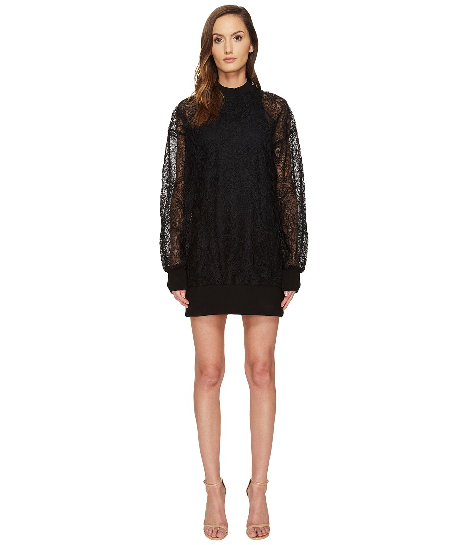 Vera Wang Long Sleeve Sheer Tank Dress (Black) Women