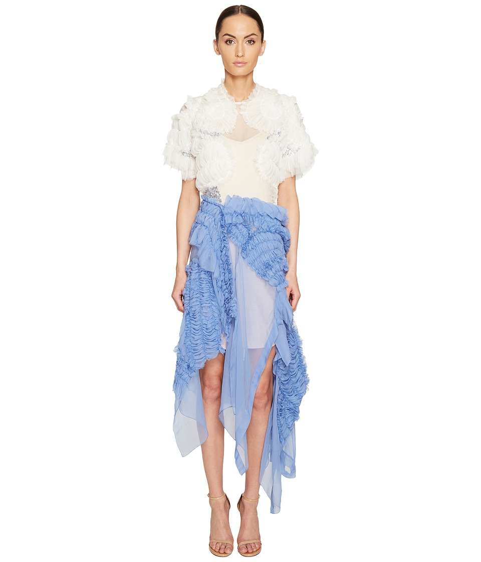 Preen by Thornton Bregazzi Natalia Dress with Nude Jersey Slip (Blue/White) Women