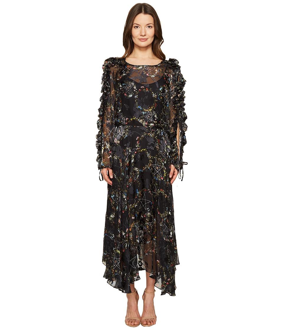 Preen by Thornton Bregazzi Ermin Dress with Black Silk Slip (Flower Ring Black) Women