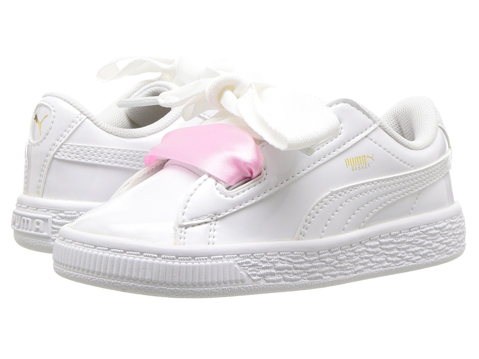 Puma Kids Basket Heart Patent (Toddler) (Puma White/Puma White) Girl