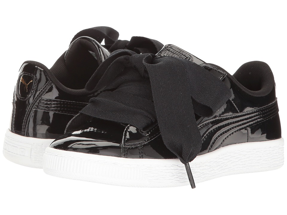 Puma Kids Basket Heart Patent (Little Kid/Big Kid) (Puma Black/Puma Black) Girl