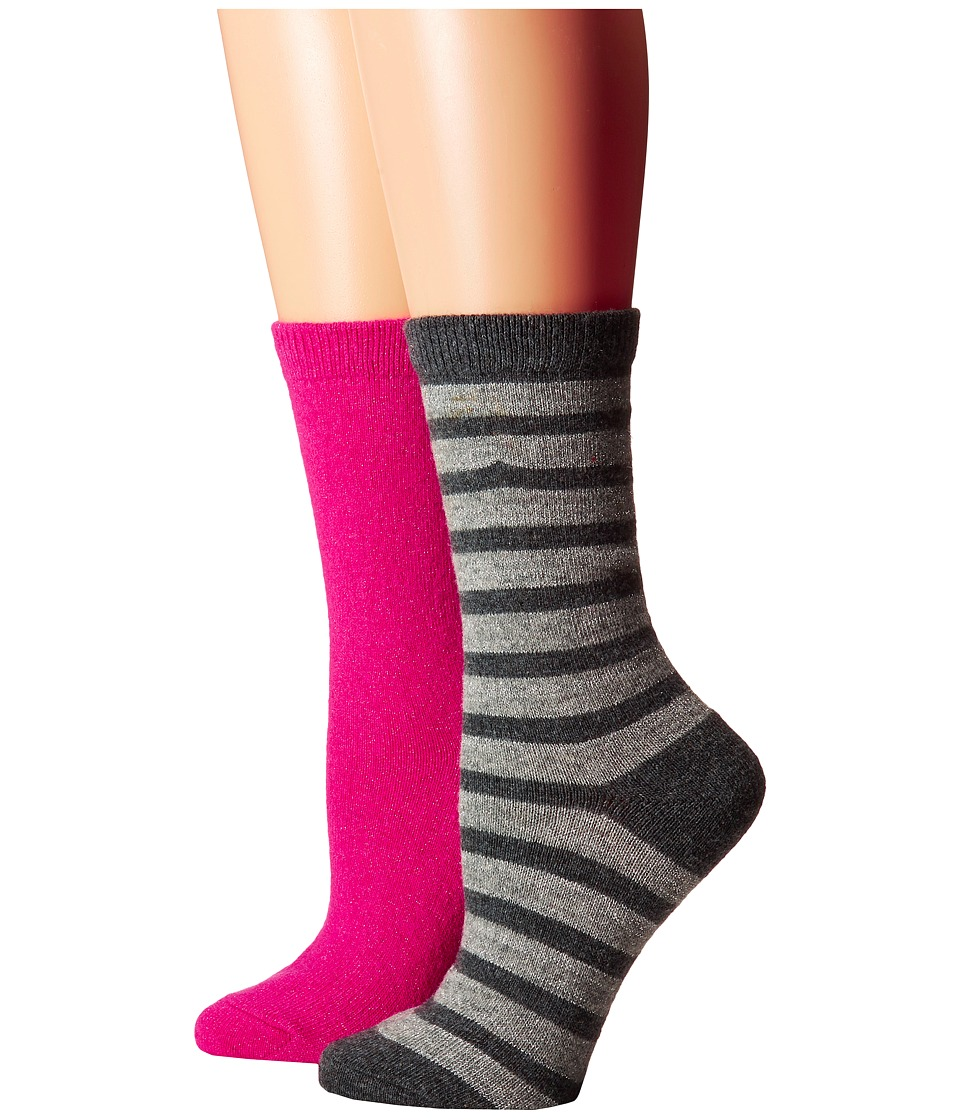 Kate Spade New York Cashmere Stripe Sparkle Gifting 2-Pack Crew in Box (Grey Heather) Women