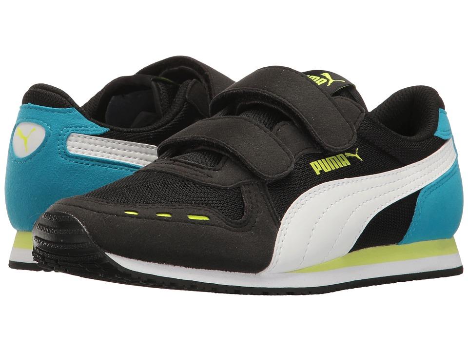 Puma Kids Cabana Racer Mesh V PS (Little Kid/Big Kid) (Puma Black/Puma White/Green) Boys Shoes