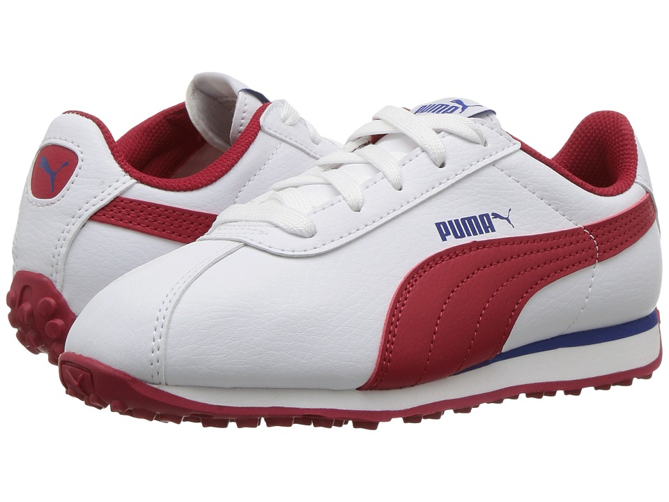 Puma Kids - Turin (Little Kid/Big Kid) (PUMA White/Barbados Cherry) Boys Shoes