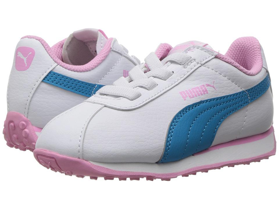 Puma Kids - Turin AC (Toddler) (Puma White/Hawaiian Ocean) Girls Shoes