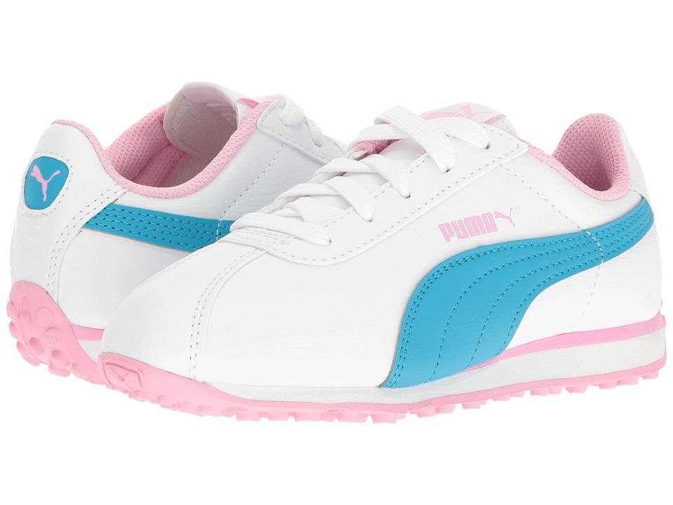 Puma Kids - Turin (Little Kid/Big Kid) (Puma White/Hawaiian Ocean) Girls Shoes