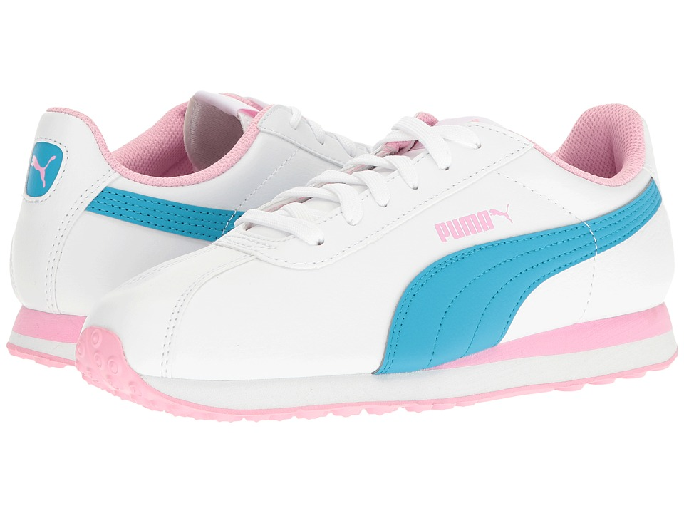 Puma Kids - Turin (Big Kid) (Puma White/Hawaiian Ocean) Girls Shoes