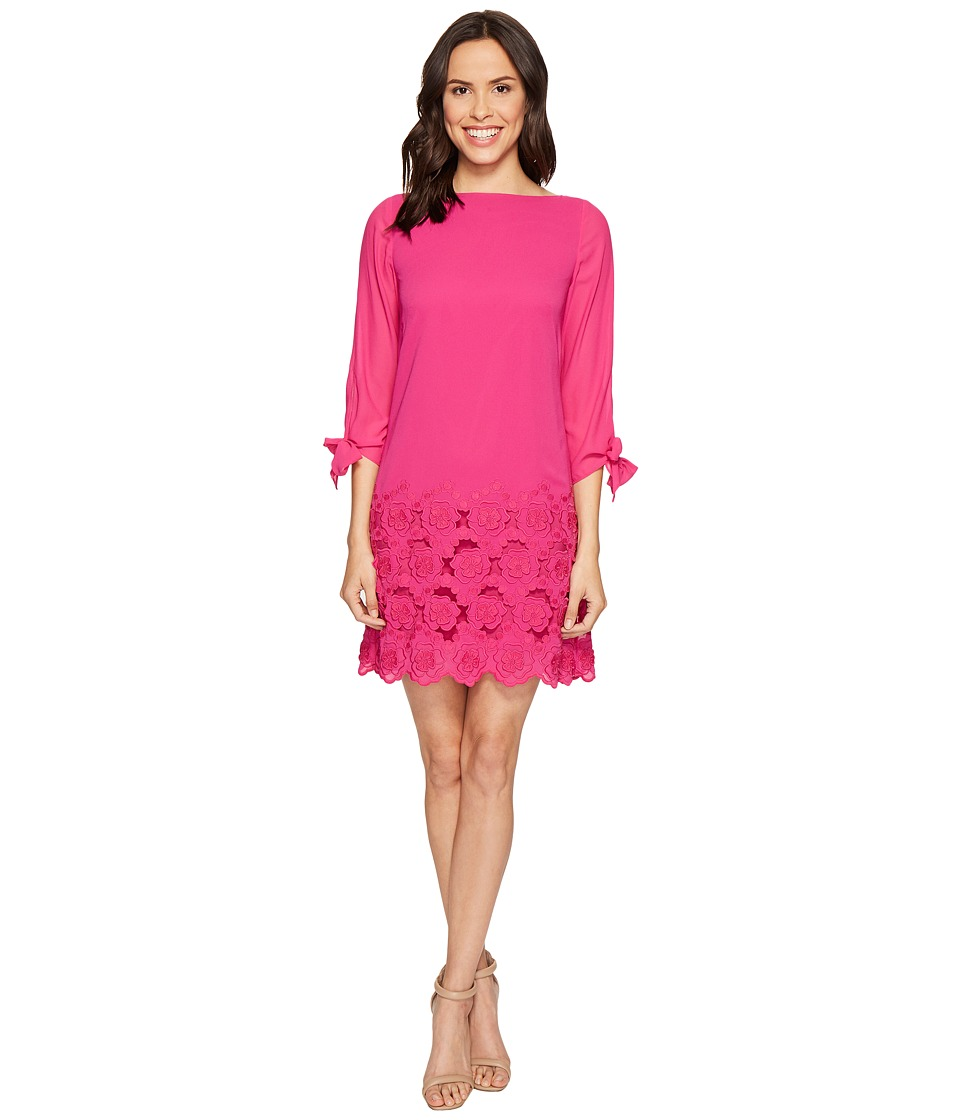 Tahari by ASL Floral Embroidered Hem Sleeved Shift Dress (Shocking Pink) Women