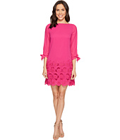 Tahari by ASL - Floral Embroidered Hem Sleeved Shift Dress