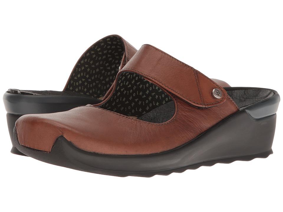 Wolky Up (Cognac Velvet) Women's Clog/Mule Shoes
