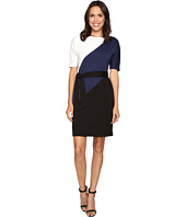 Ellen Tracy - Color Block Dress w/ Waist Tie