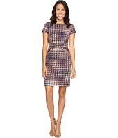 Ellen Tracy - Short Sleeve Printed Ponte Dress w/ Waist Detail