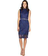 Ellen Tracy - All Over Lace Dress w/ Mock Neck and Belt