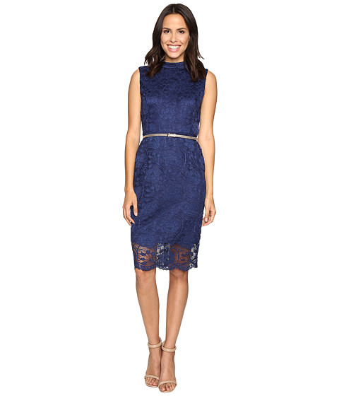 Ellen Tracy All Over Lace Dress w/ Mock Neck and Belt