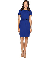 Ellen Tracy - Short Sleeved Luxe Stretch Dress w/ Buckle Detail