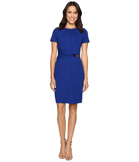 Ellen Tracy Short Sleeved Luxe Stretch Dress w/ Buckle Detail