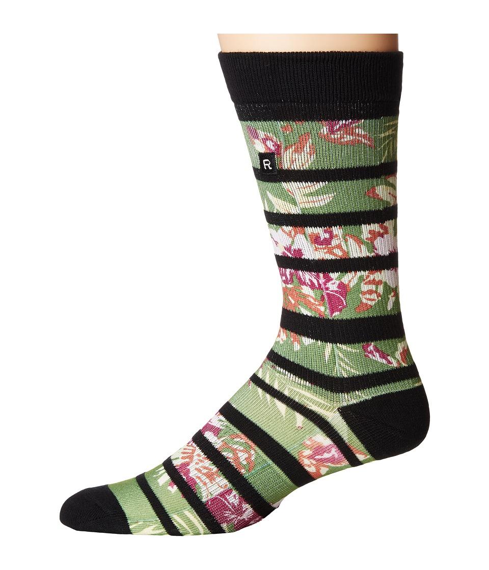 Richer Poorer - Hibiscus Athletic Socks (Green) Mens Crew Cut Socks Shoes