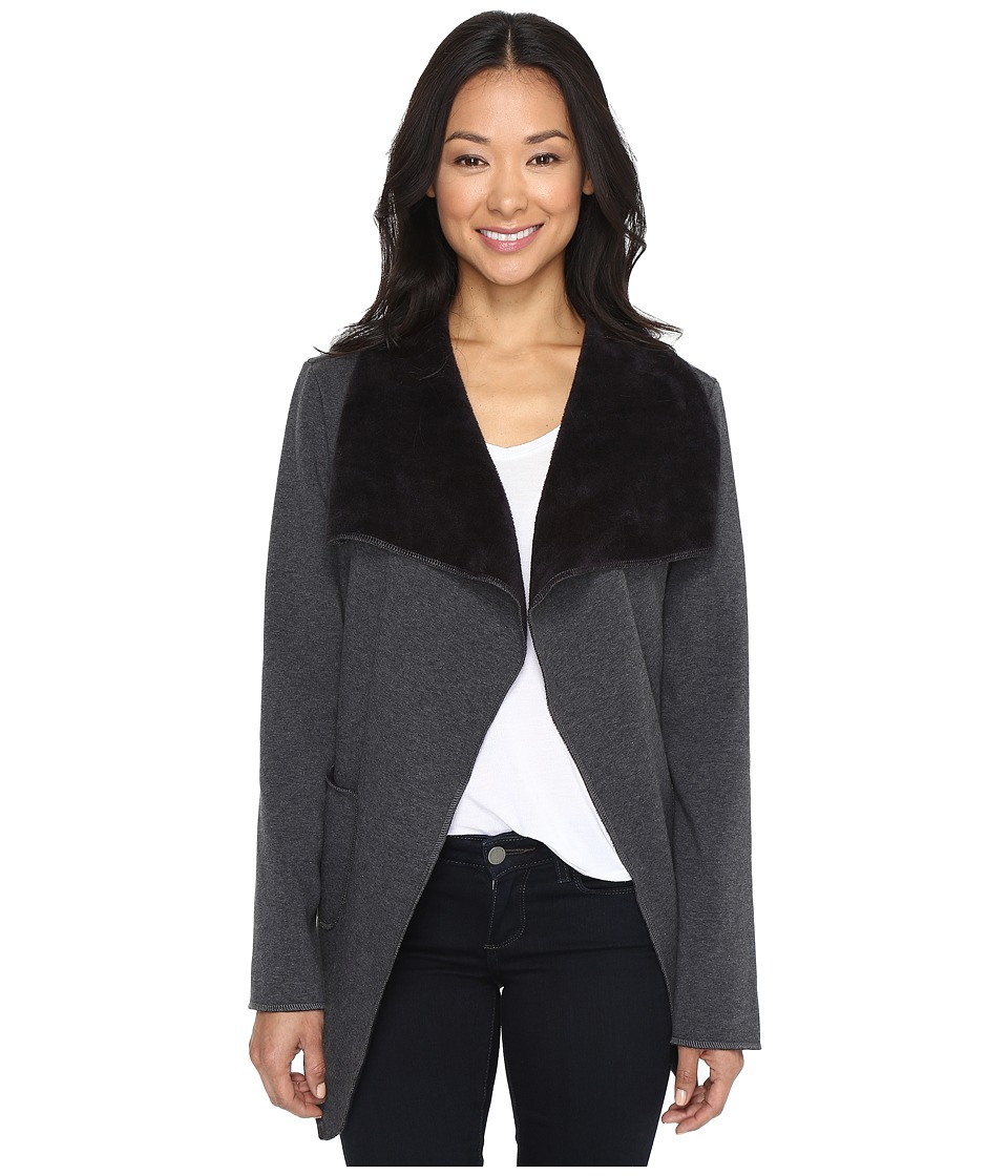 Dylan by True Grit Cozy Heather Fleece Jacket with Front Pockets (Charcoal/Black) Women