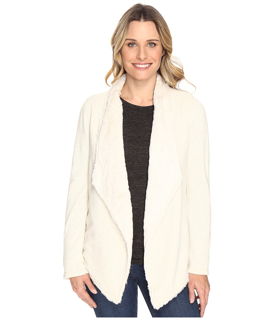 Dylan by True Grit Luxe Fur And Fleece Drape Jacket with Lining (Vintage White Heather) Women