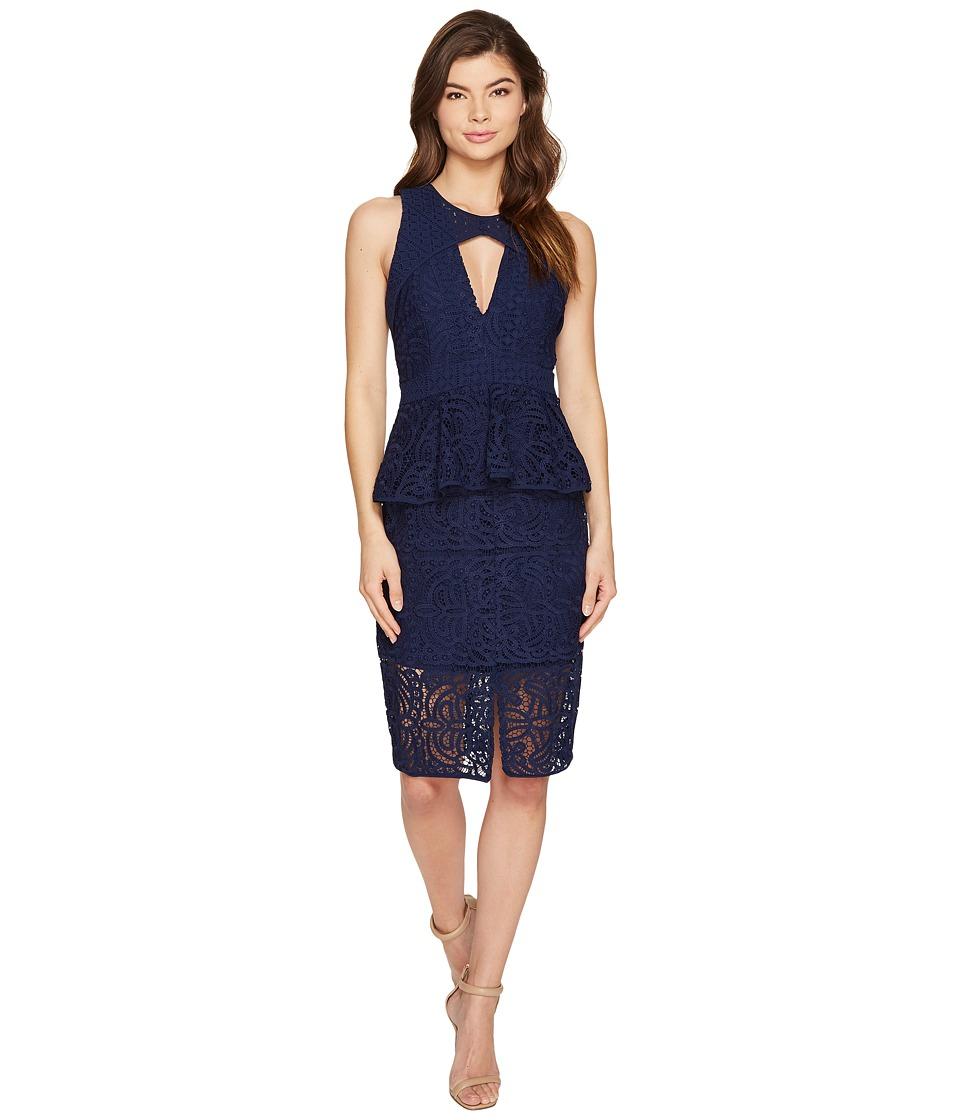 Adelyn Rae Laureen Woven Lace Sheath Dress (Navy) Women