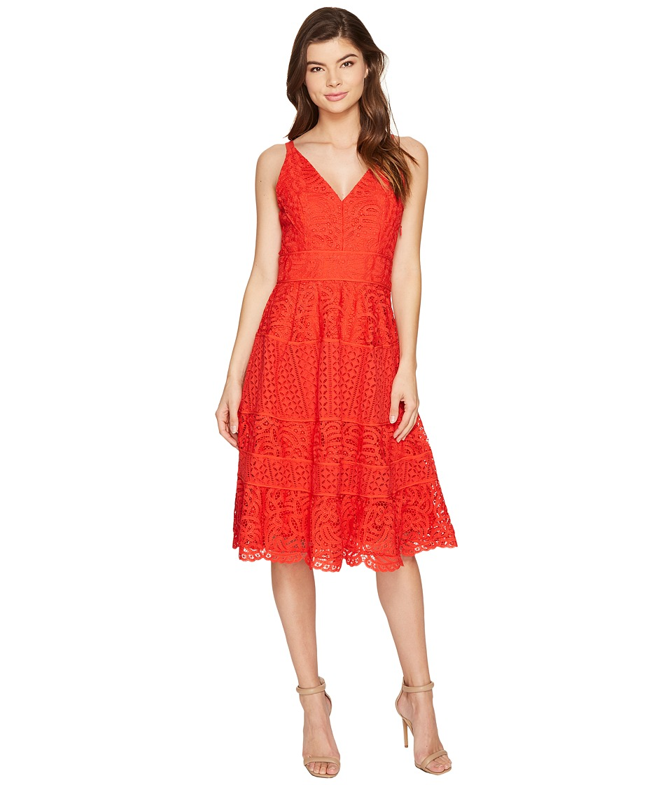 Adelyn Rae Laureen Woven Lace Midi Fit and Flare (Red) Women