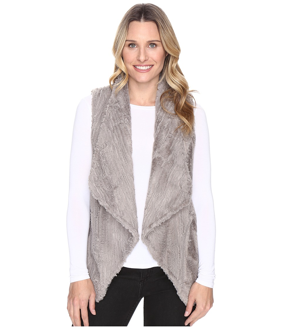 Dylan by True Grit - Silky Faux Fur Vintage Drape Vest (Grey) Womens Vest