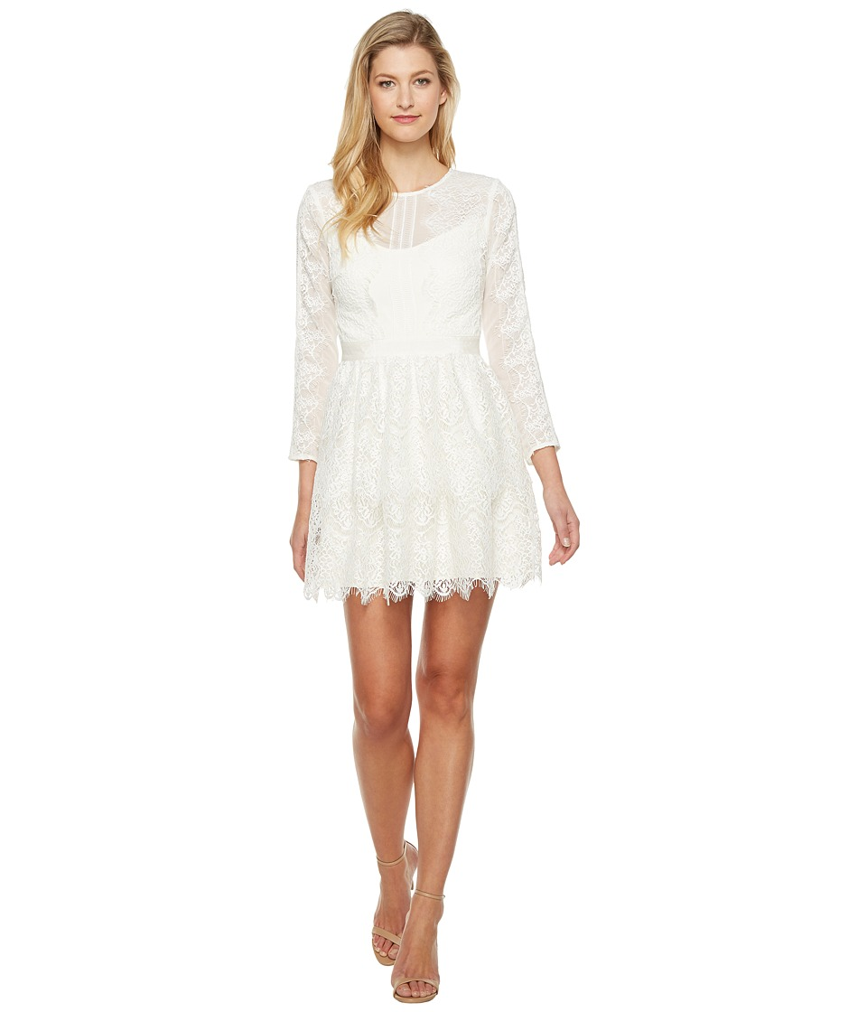 Adelyn Rae Suzanne Woven Lace Long Sleeve Fit and Flare (White) Women