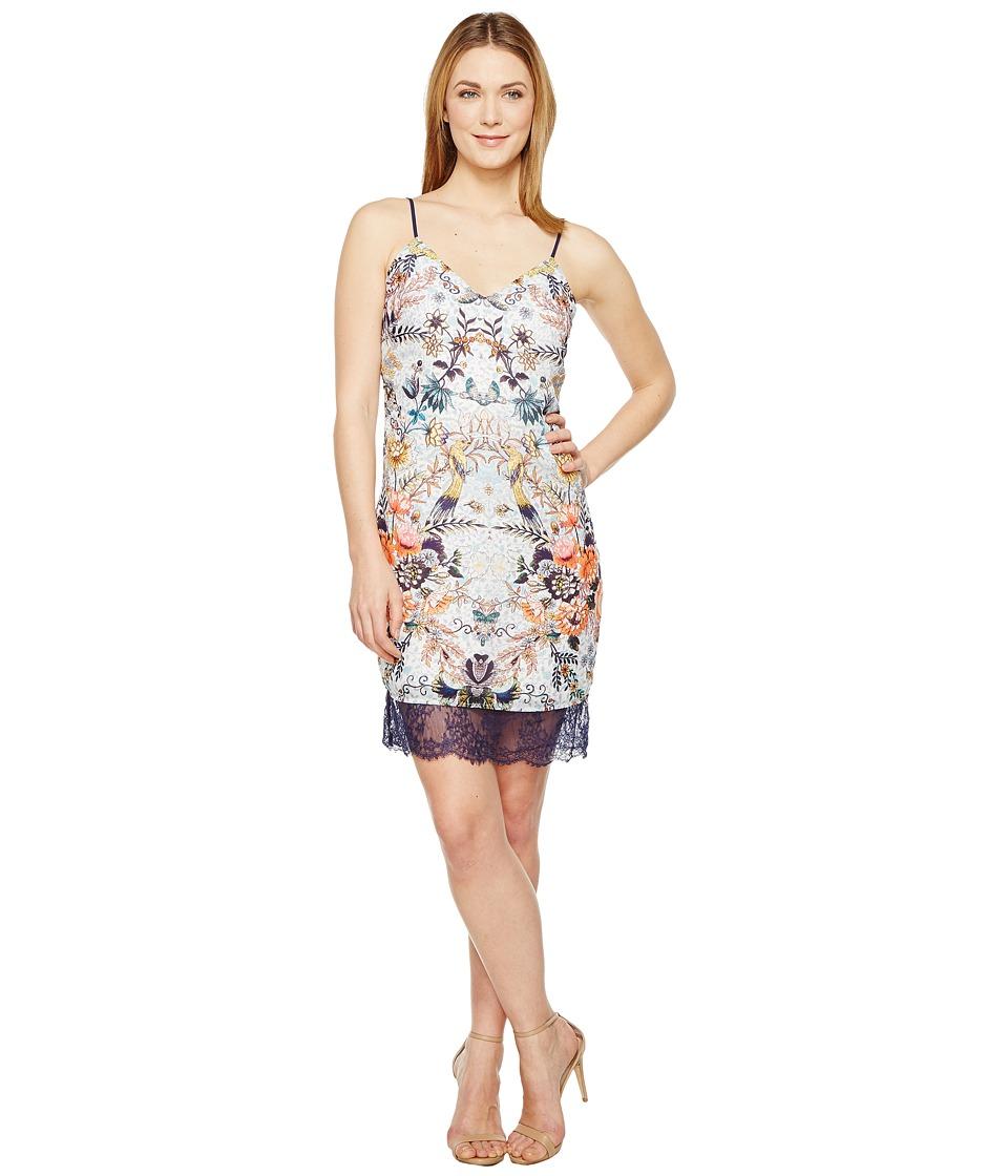 Adelyn Rae Lydia Woven Printed Slip Dress (White Multi) Women