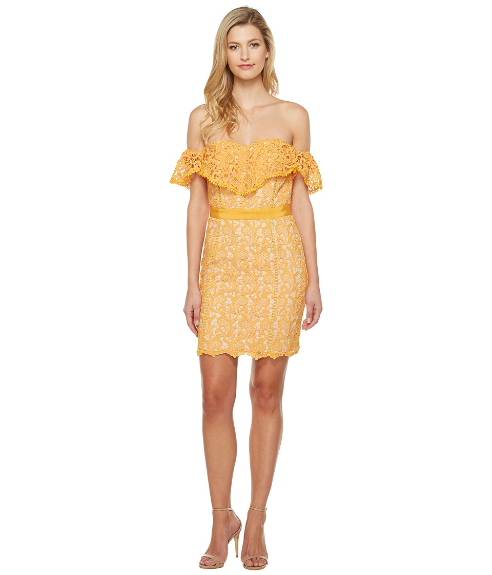 Adelyn Rae Maddie Woven Lace Tube Dress (Mango) Women