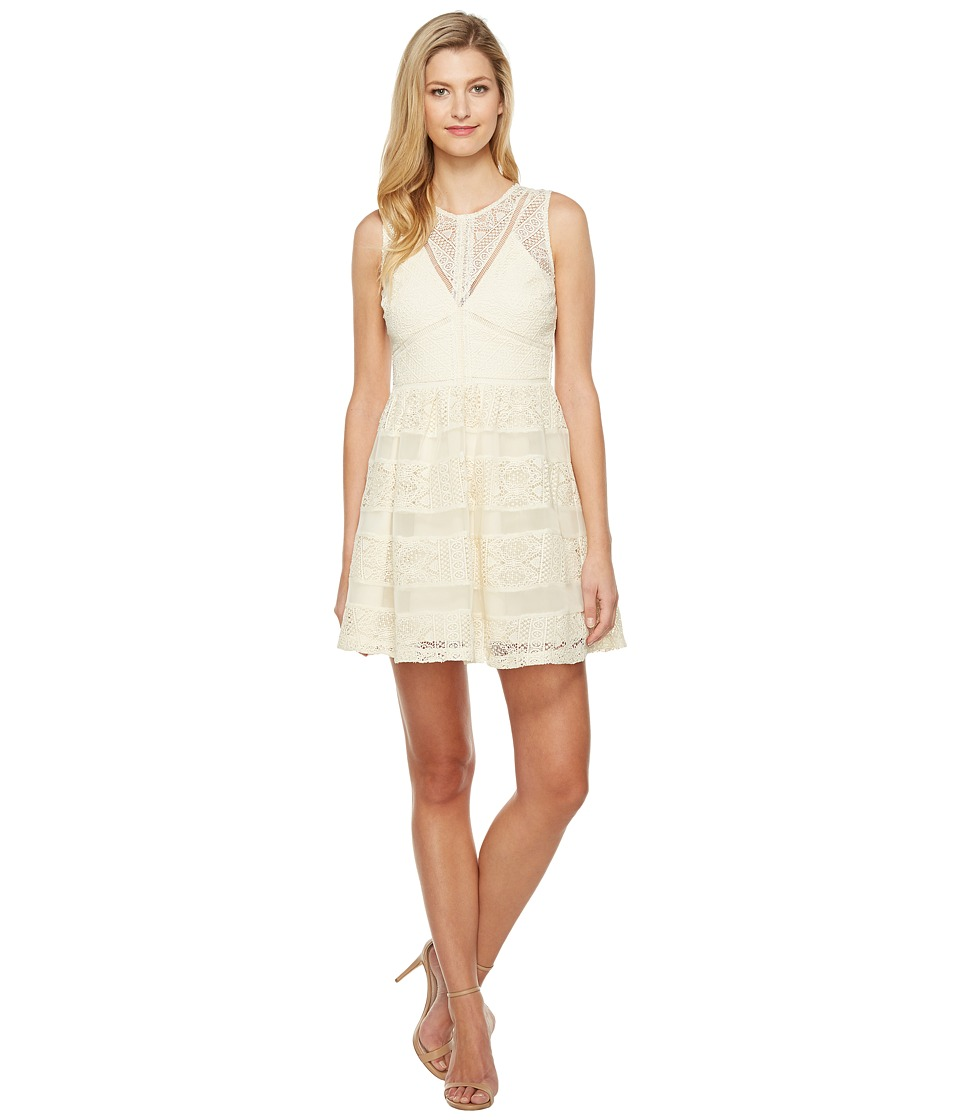 Adelyn Rae Marissa Woven Lace Fit and Flare (Ivory) Women