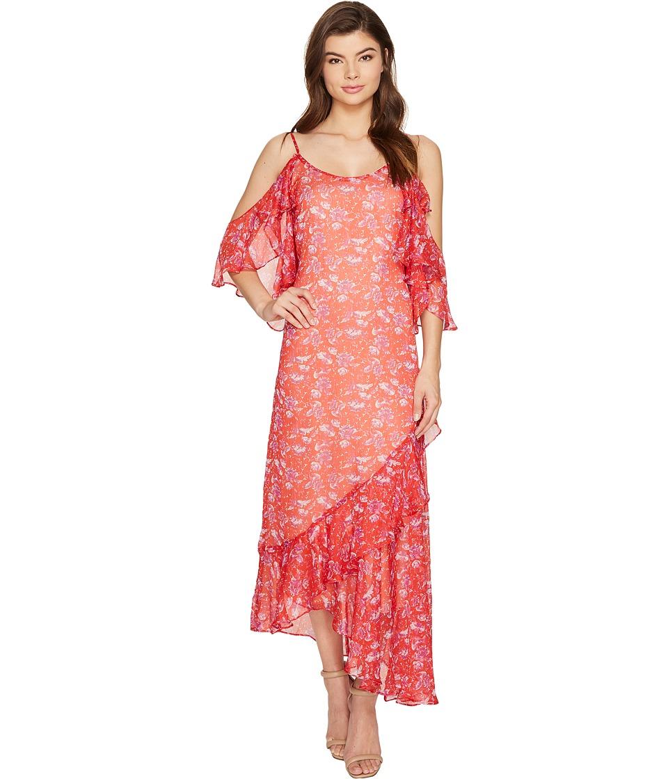 Adelyn Rae Kaileen Woven Printed Frill Slip Dress (Red Orange) Women