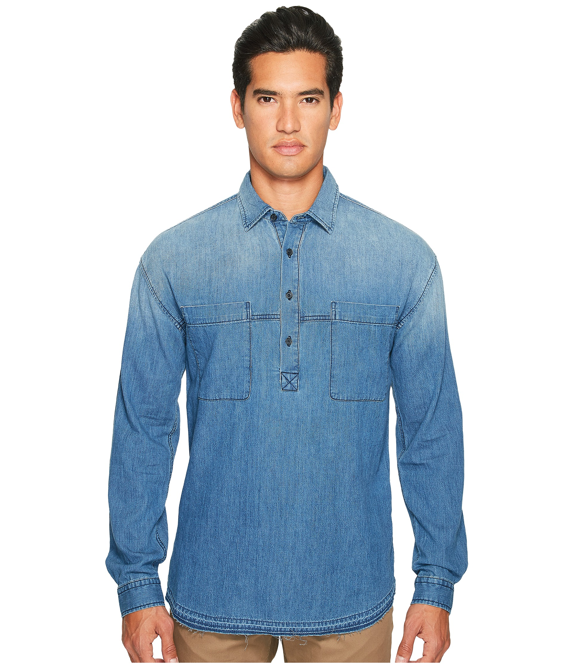 Vince Denim 1/2 Placket Pullover Shirt at Zappos.com