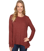 Dylan by True Grit - Soft Heather Slub Long Sleeve Ruffle Back Tee