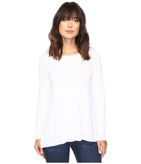 Dylan by True Grit Glam Softest Fleece Asymmetrical Pullover - White