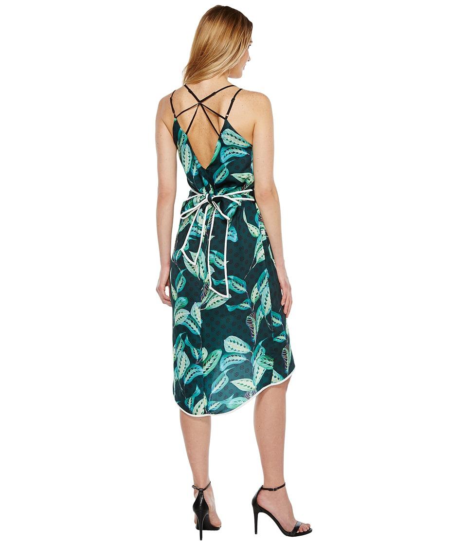 Adelyn Rae Havana Woven Printed Slip Dress (Green) Women