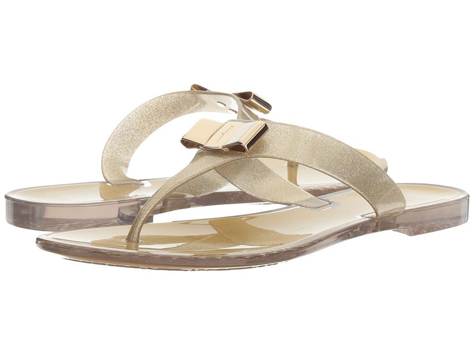 Salvatore Ferragamo - PVC Glitter Thong (Glitter Sand/Trasparente) Women's Sandals