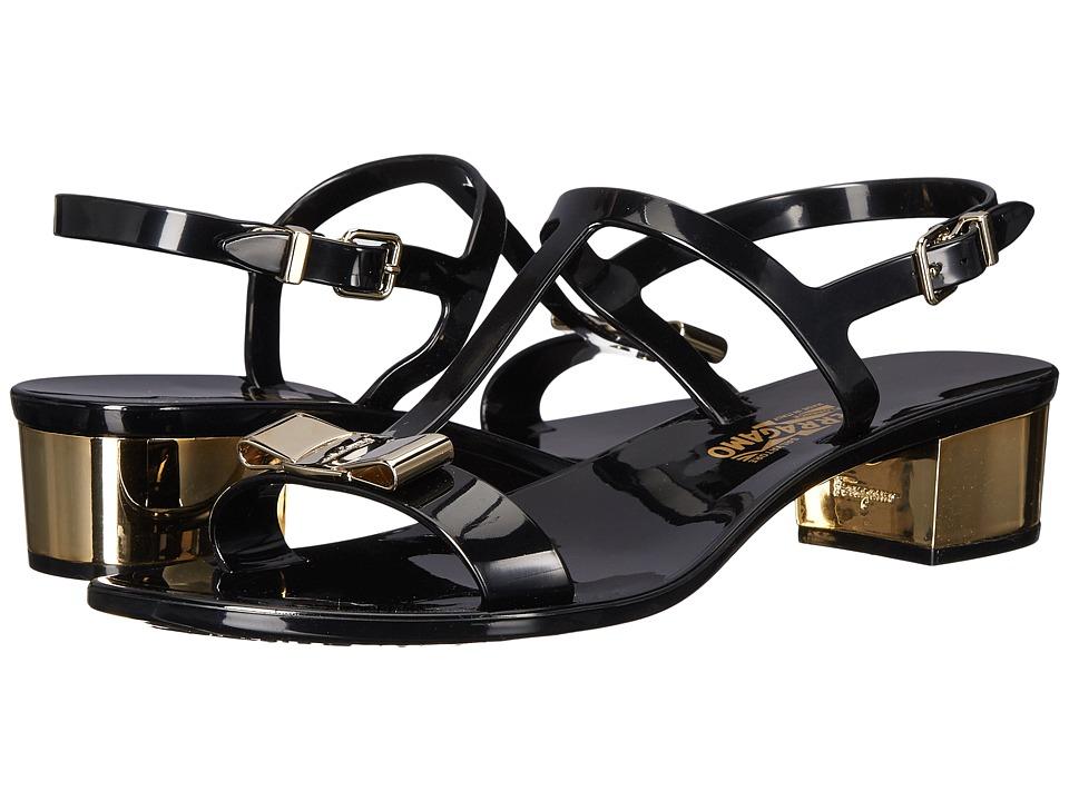 Salvatore Ferragamo - PVC Glitter Thong With Heel (Nero Compatto) Women's Sandals