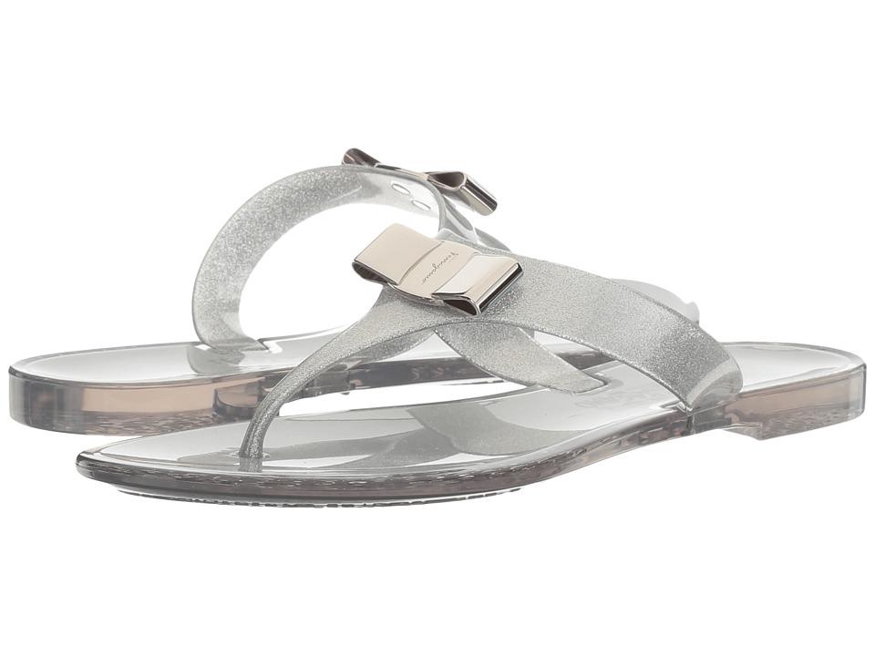 Salvatore Ferragamo PVC Glitter Thong (Glitter Silver/Trasparente) Women